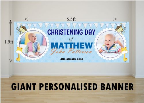 Personalised GIANT Large Boys Animal Christening Baptism Poster Banner N23